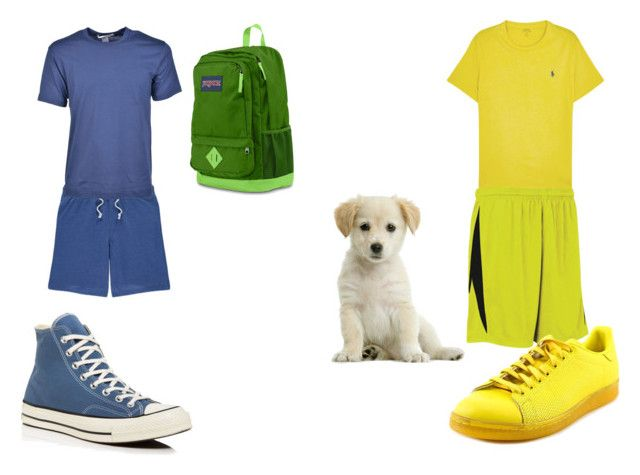 """finn and jake"" by sierranicoleteague on Polyvore featuring George, Comme des Garçons, Converse, JanSport, Polo Ralph Lauren, Diadora, adidas, men's fashion and menswear"