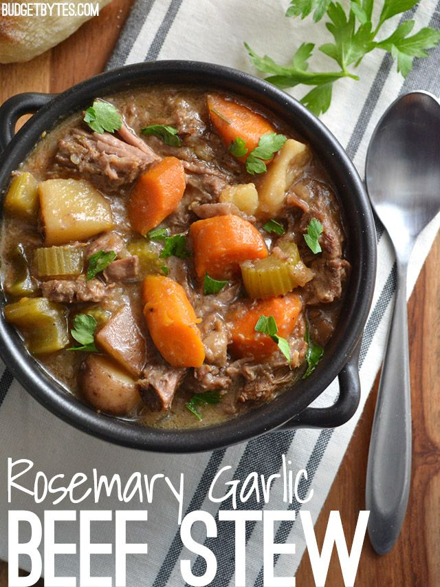 Use your slow cooker to make an intensely flavored Rosemary Garlic Beef Stew with fork tender bits of beef and colorful vegetables. BudgetBytes.com V