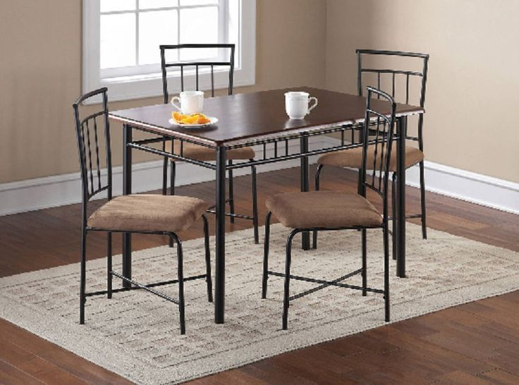 5-Piece Dining Room Set Brown Dinette Home  Kitchen Furniture Wood Metal New  #Contemporary