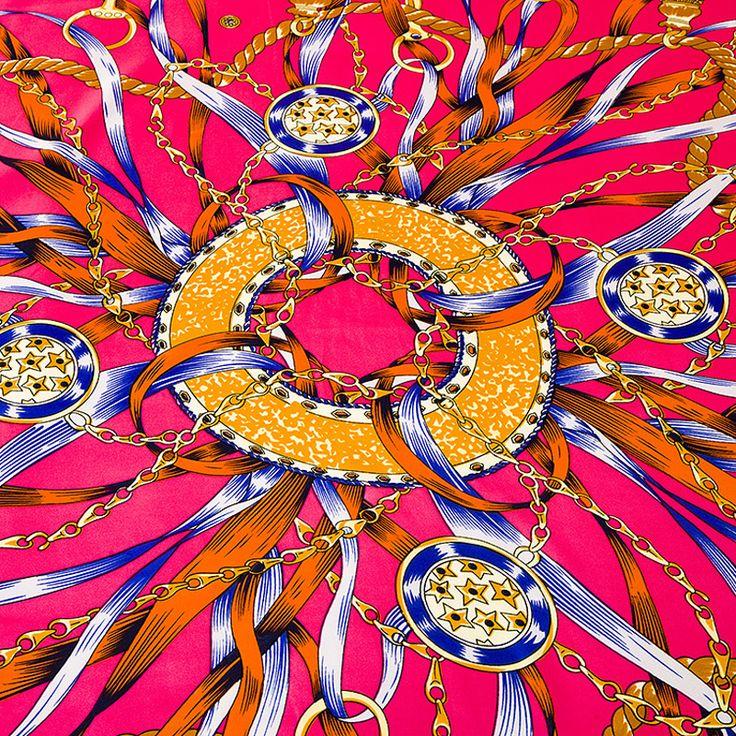 100% Twill Silk Square Scarf Muslim Hijab Bandanas Chain New Design France Luxury Brand For Women Headband Shawl 100*100cm