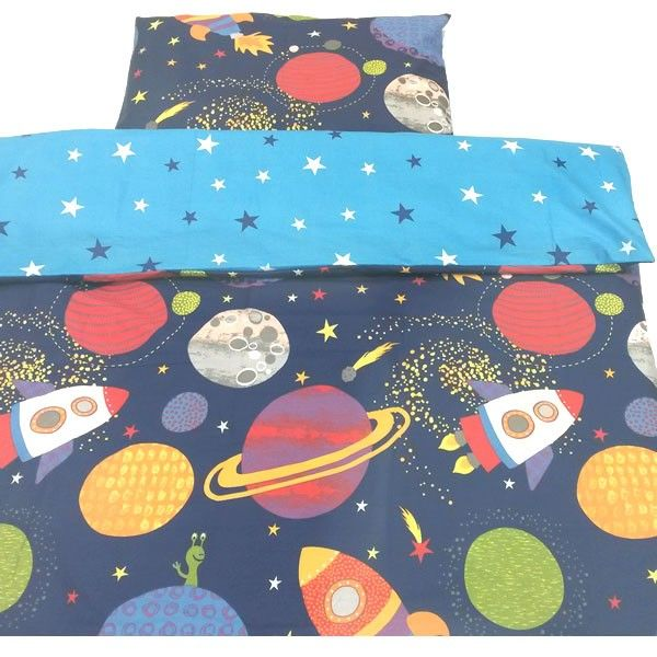 Go on an adventure to outer space with this bright and vibrant reversible space cot bed duvet cover set