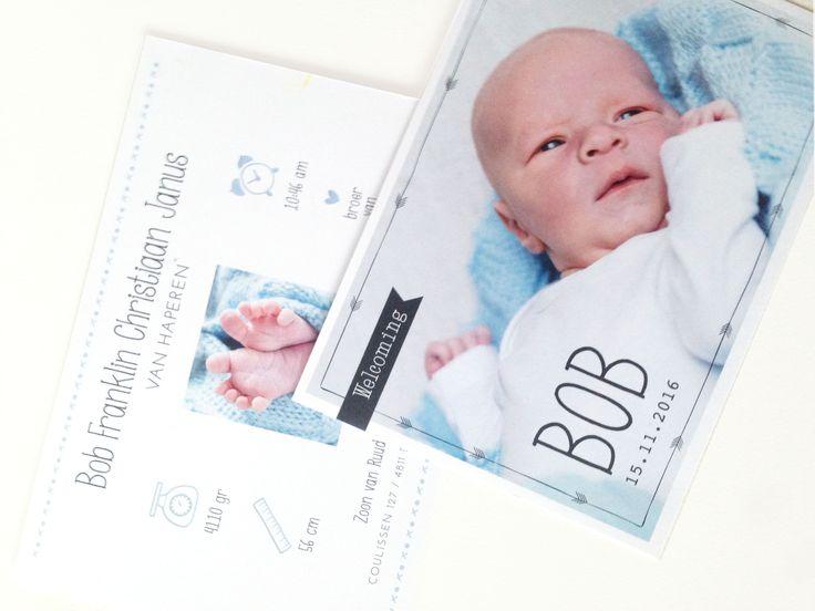Geboortekaartje speciaal op maat gemaakt voor stoere Bob.  Geboortekaartje | jongen | met foto | newborn | stoer | icoontjes | weegschaal | lint | klok | blauw | baby boy | announcement | geboortekaartjes www.charlyfine.nl