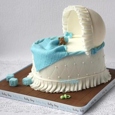 Bassinet baby shower cake.