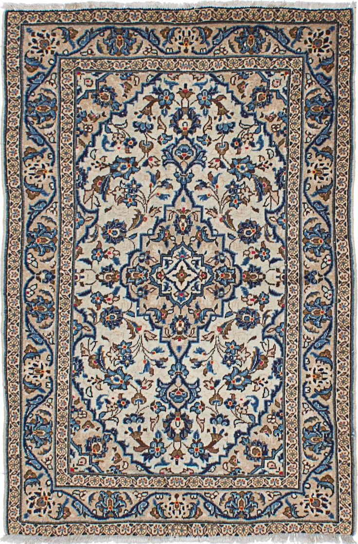 "3'2"" X 4'11"" Vintage Persian Kashan Navy and Ivory -Rug"