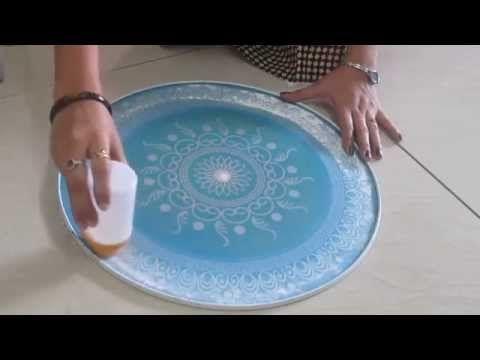 Rangoli design making with stencil - part 2 - YouTube