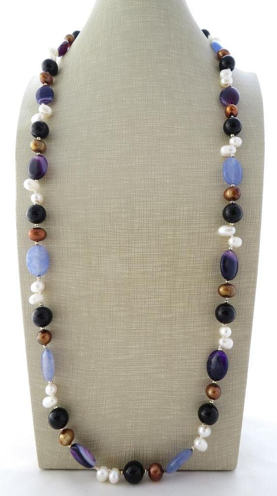 Agate necklace multicolor long gemstone necklace by Sofiasbijoux
