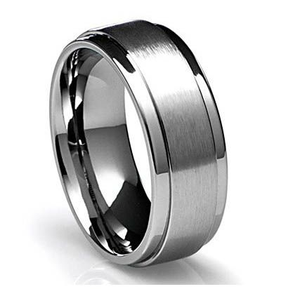 Titanium Mens Wedding Bands With Black Diamonds
