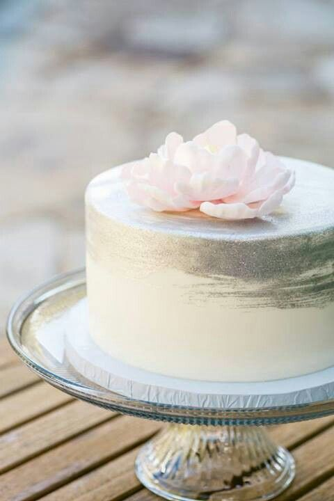 Gorgeous blush pink with silver wedding cake. Sweet on Cake