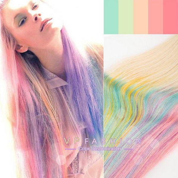 fresh rainbow pastel color ideas for blonde hair 2015