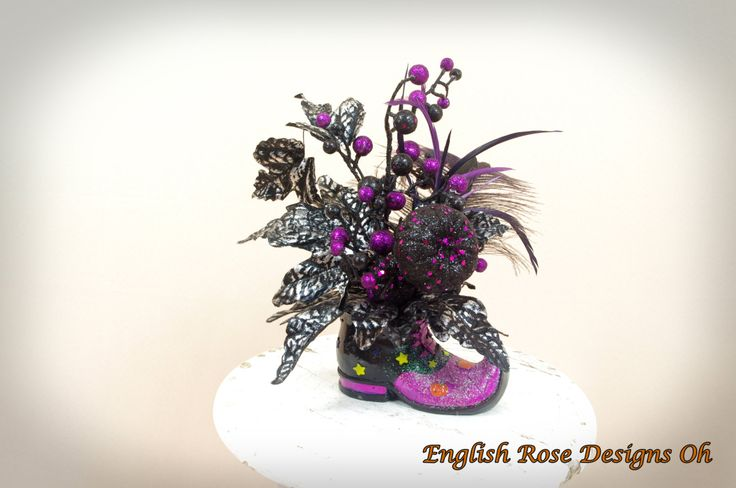 Witch Boot Centerpiece * Halloween Decor * Witch Decor * Witch Boot Floral Arrangement * Black and Purple Halloween by englishrosedesignsoh on Etsy