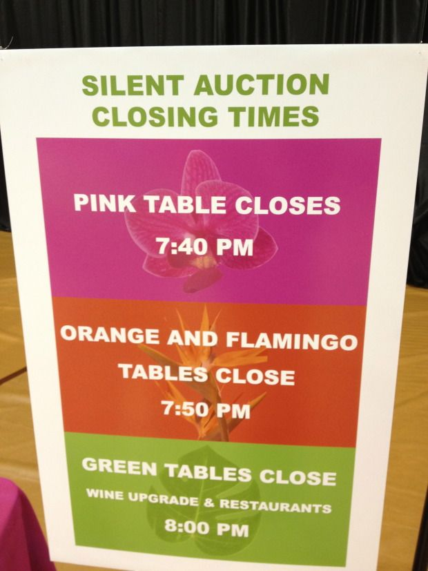 Silent Auction Tip: Staggered Table Closing Times. This idea makes it very clear when each silent auction ends and you aren't relying solely on the auctioneer announcements to remind everyone to get their bids in on time.