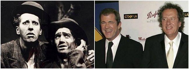 Mel Gibson e Geoffrey Rush  Eles se tornaram melhores amigos na Austrália, na produção do filme Esperando Godot (na foto à esquerda), e até chegaram a dividir um apartamento.
