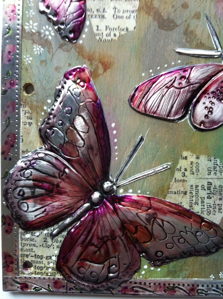 Pewter and Alcohol Inks Journal Cover, Elitia Hart pewterart.ca