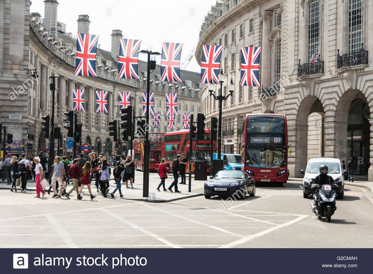 The flags are out on Regent Street in central London in anticipation of the 23rd June Referendum to remain or leave the EU Stock Photo