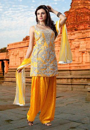 Yellow Art Silk Jacquard