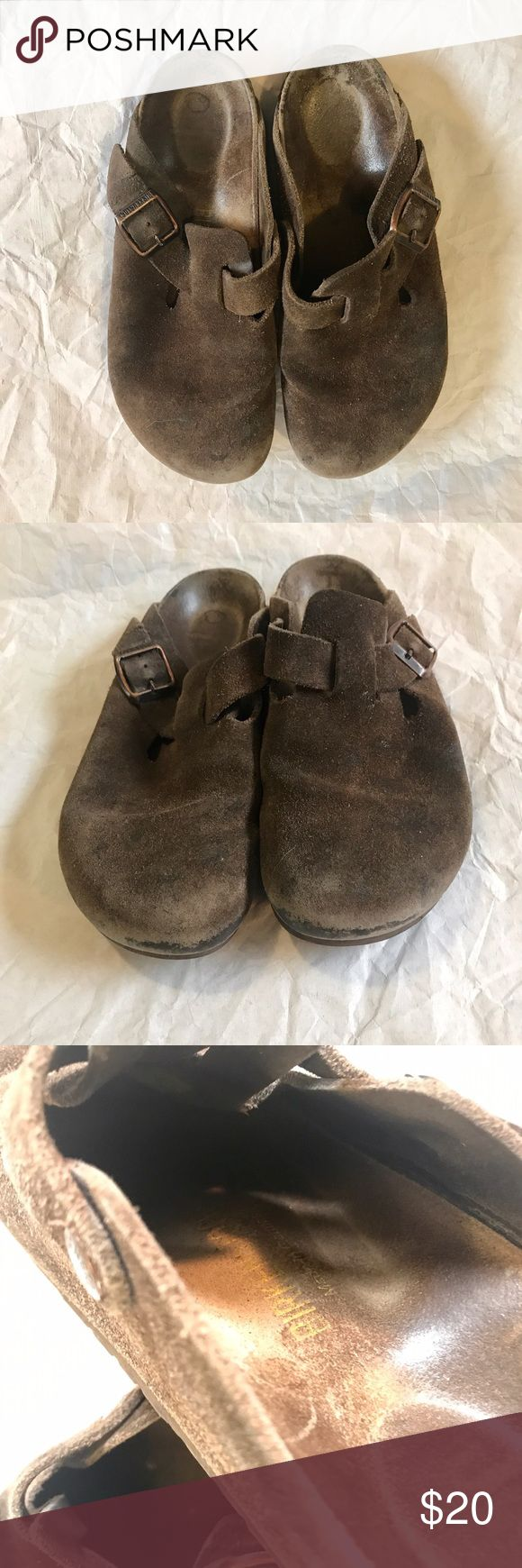 Birkenstock 37 clogs Birkenstock chocolate brown clogs in EU size 37. Pre-owned, wear as pictured - discoloration of footbed, wear on soles, wear on suede outer. Reasonable offers accepted! Check out my other listings for a bundle discount! Birkenstock Shoes Mules & Clogs