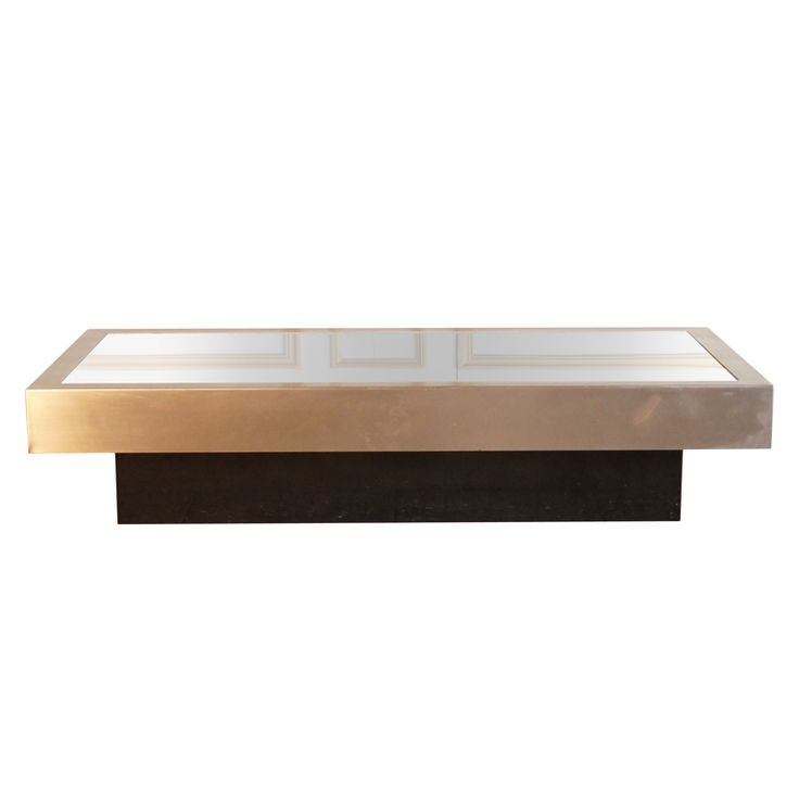 Brushed Steel and Black Glass Coffee Table | From a unique collection of antique and modern coffee and cocktail tables at https://www.1stdibs.com/furniture/tables/coffee-tables-cocktail-tables/