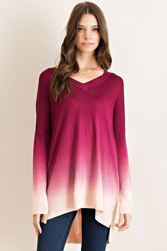 """Super soft ombre sweater. Available in S,M and L. $32 - Entro brand - 100% Polynosic - 30"""" long"""
