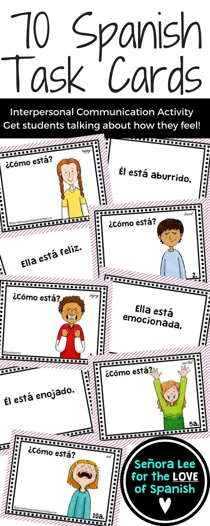 Spanish Emotions Task Cards Interpersonal Communication Activity Express Your Feelings In S Teaching Spanish Middle School Spanish Lessons Learning Spanish [ 1840 x 736 Pixel ]