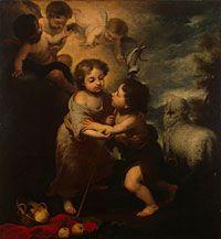 "Bartolomé Esteban Murillo, ""Gesù e Giovanni Batista bambini"", 1655-1660, Olio su tela, San Pietroburgo, Museo Statale Ermitage"