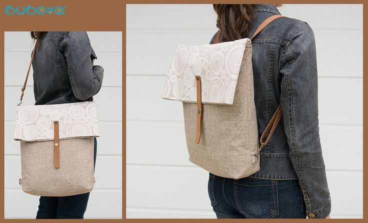 FREE SHIPPING***Beige Backpack, Shoulder Bag, Diaper, Handbag, Leather Straps, Messenger Bag, Foldover, Convertible, Canvas, Fabric by buboxa on Etsy