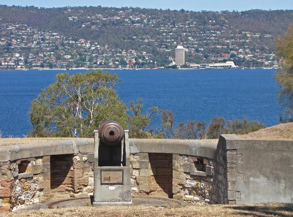 From Kangaroo Bluff Battery, across Derwent River to Wrest Point Casino in Sandy Bay. Article for Think Tasmania.
