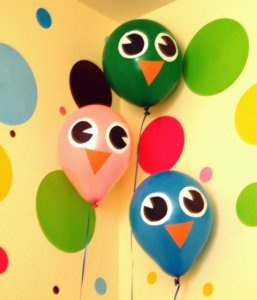 Owl birthday balloons