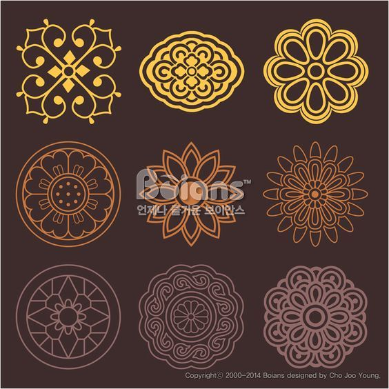 꽃과 식물 문양 패턴. 한국 전통문양 패턴디자인. (BPTD020196) Flower and Plant Pattern Design. Korean traditional Pattern is a Pattern Design. Copyrightⓒ2000-2014 Boians.com designed by Cho Joo Young.: