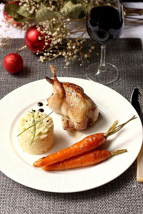#23 Cailles rôties, carottes et écrasé de rattes à la truffe - Repas express