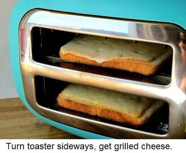 Do this: turn toaster sideways, get grilled cheese: Thoughts, Toaster Ovens, Toaster Sideways, Good Ideas, Savory Recipes, Lifehacks, Grilled Cheese, Great Ideas, Life Hacks