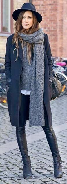 A simple wrapped long textured scarf is great for layering with a longer coat length. Photo credit- Pinterest