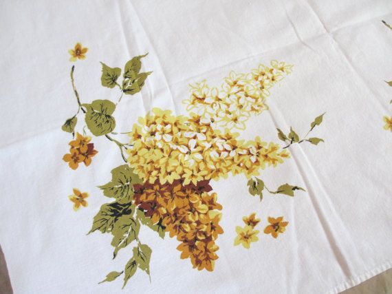 Yellow lilac. Vtg midcentury tablecloth / cotton / yellow brown green white / botanical / lilac floral flower /  45 x 50 inch