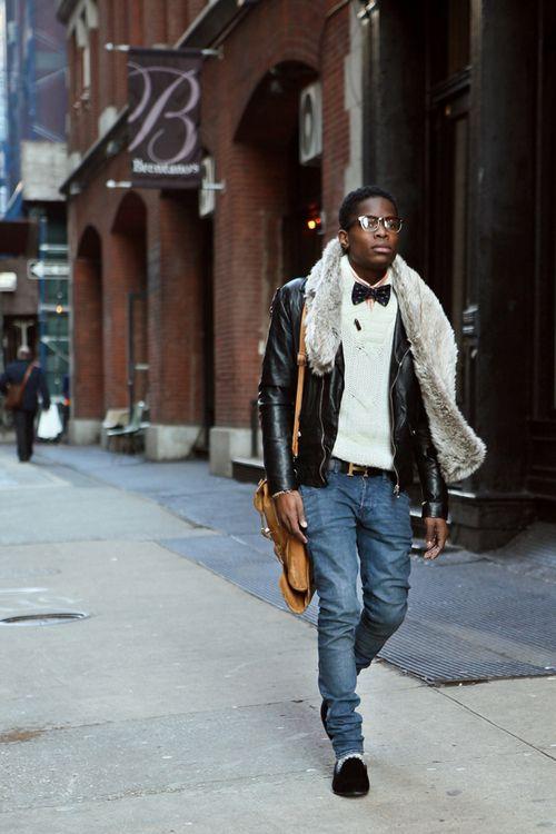 Street styleBows Ties, Fur Stole, Men Style, Street Style, Men Fashion, Style Men, Leather Jackets, Cities Fashion