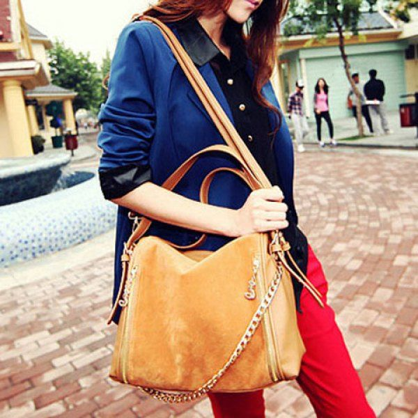 Fashion Chain and Zipper Design Women's Crossbody Bag, BROWN in Crossbody Bags | DressLily.com