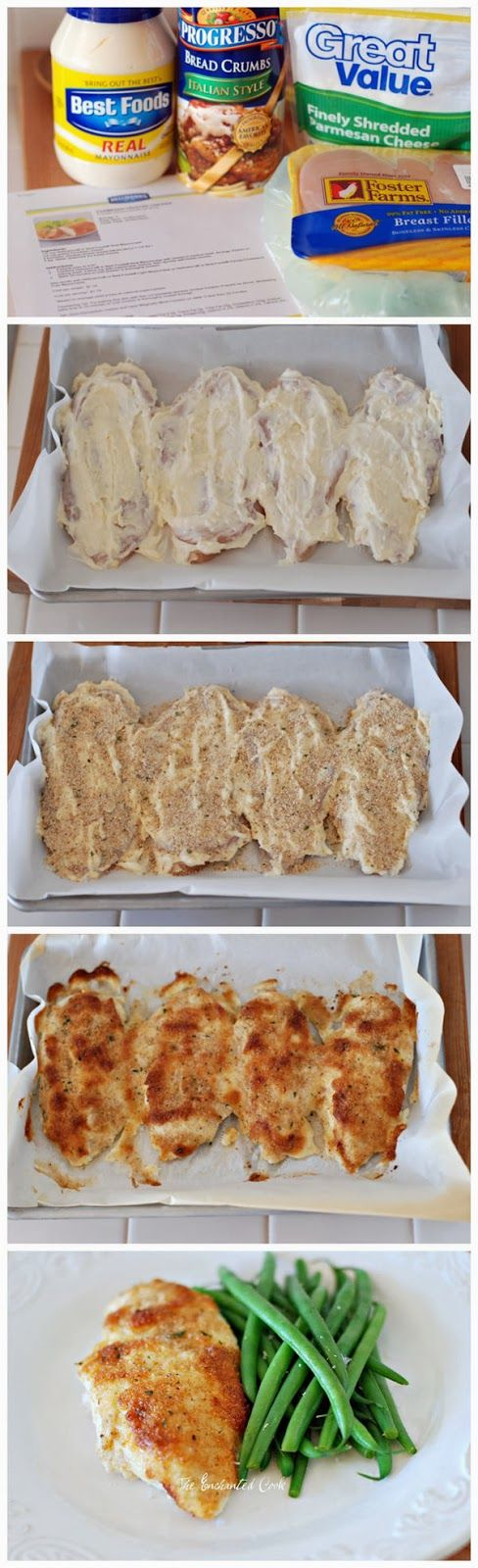 Parmesan Crusted Chicken---- my modified recipe---- 1/2 cup mayo/plain yogurt, 1/4 cup shredded mozzarella cheese, 4-5 chicken breasts, 4 teaspoons Italian seasoned dry bread crumbs---- coat both sides of chicken with bread crumbs, option- add lemon juice and garlic powder for flavor