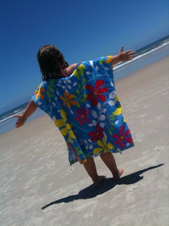 Make the kids a beach cover-up with your beach towels...