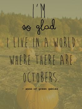 October Pumpkin Quote Poster, Printable, Anne of Green Gables, Fall