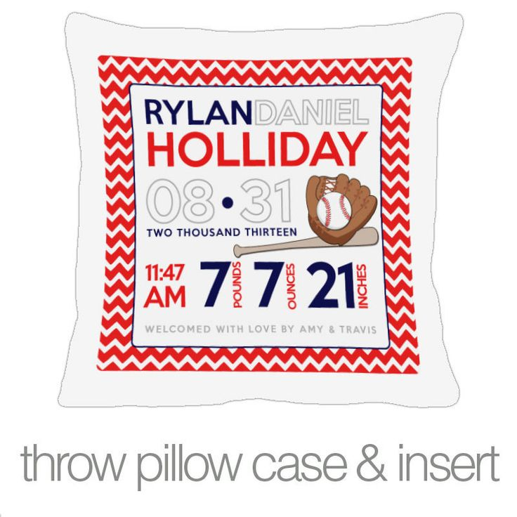 73 best pillows pillows images on pinterest numb daycares and birth announcement pillow baseball custom throw pillow with pillowcase new baby giftsbirth negle Image collections