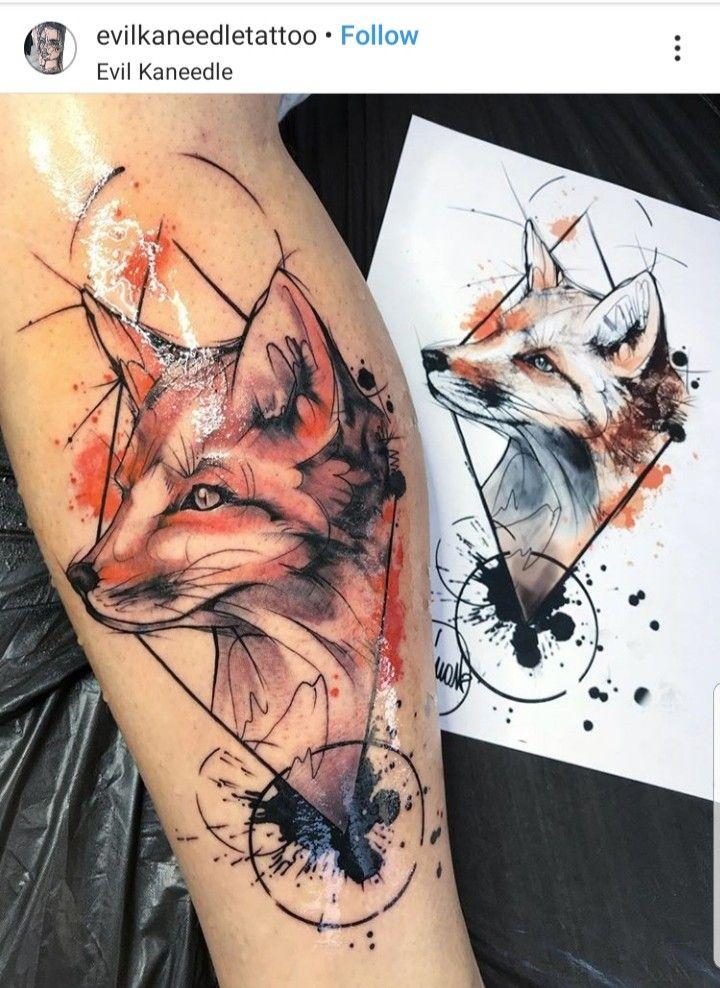 Geometric Watercolor Fox Tattoo Tatuagens Tatoo