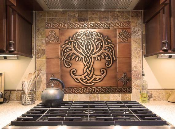 Beautiful Celtic Tree Of Life Set Of 17 Handmade Tiles 100 Etsy Copper Tiles Celtic Tree Of Life Handmade Tiles