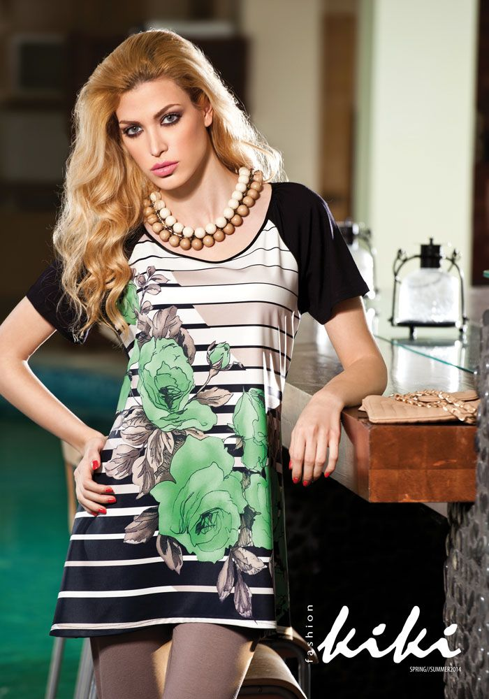 Top with stripes & roses