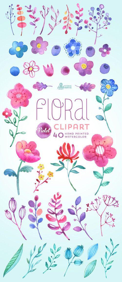 Floral Watercolour Clipart Violet: 40 Elements. Handpainted watercolor flowers, wedding diy elements, berry, leaves, decorative, baby invite