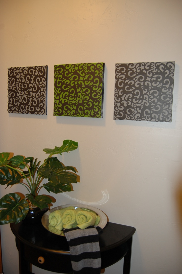 Scrapbook ideas with ribbon - Canvas Wall Art Scrapbook Paper On Canvases Using Ribbon On The Edges What A Neat Idea