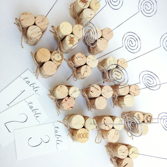Rustic Twine Table Number Holders, Rustic Wedding Decor, Wedding Table Numbers Jute Twine and Vintage Wine Corks