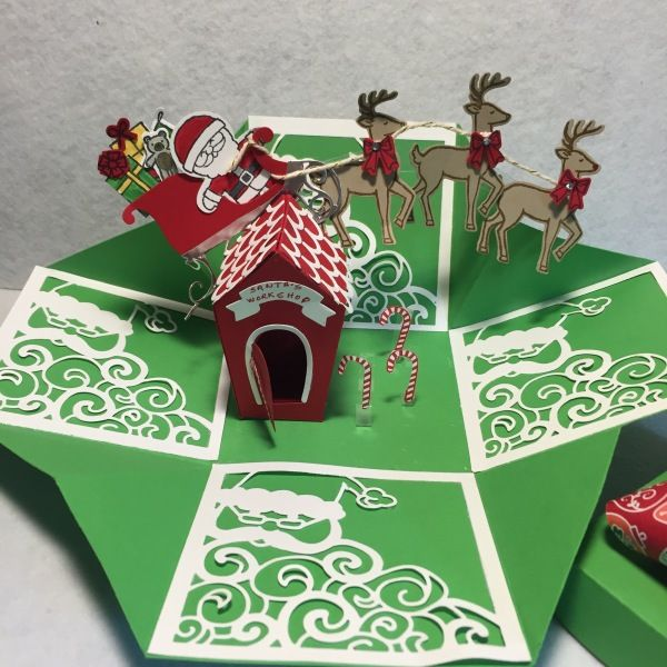 Exploding Box with Home Sweet Home Thinlits by Jean H. Hall,  , Candy Cane Christmas, Detailed Santa Framelits, Santa's Sleigh Bundle, Sliding Star, Sweet Home Thinlits
