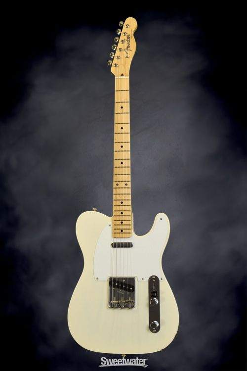 Fender American Vintage '58 Telecaster Maple - Aged White Blonde Demo | Sweetwater.com | Solidbody Electric Guitar with Ash Body, Maple Neck and Fingerboard, Two Single Coil Pickups, and Hardshell Case - White Blonde