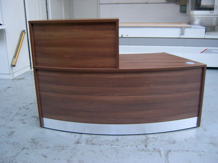 Flex Walnut Curved Reception Desk With A Half Width Top Unit Perfect For Small