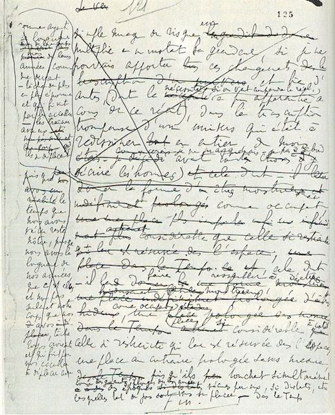 Marcel Proust's manuscript of the last page of A la recherche du temps perdu.
