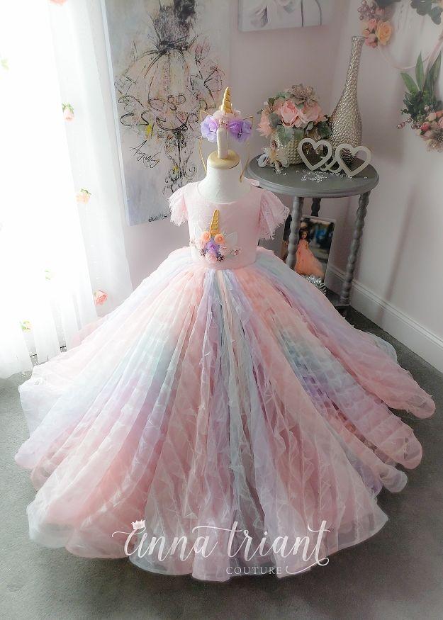 Pastel Ruffle Unicorn Gown Vestidos De Niña Elegantes