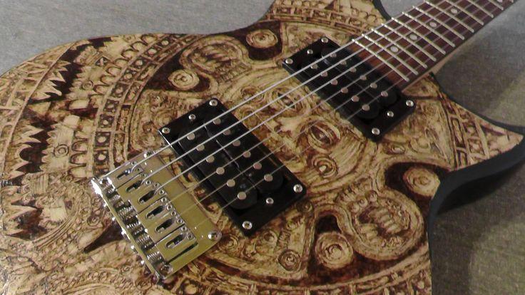 Maya calendar electric Washburn guitar made by Psujek Arts